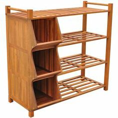 """Acacia wood storage cubby with 4 open shelves and 3 compartments.  Product: Storage cubbyConstruction Material: Acacia hardwoodColor: Natural Features: Four open shelves and three compartments  Dimensions: 38"""" H x 40.6"""" W x 18.3"""" D"""