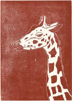Linolschnitt Giraffe