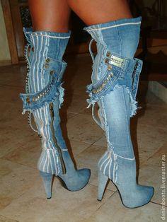 Обувь ручной работы. Ярмарка Мастеров - ручная работа Высокие джинсовые сапоги на платформе. Handmade.