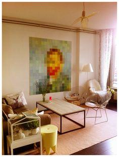 Our Amsterdam home, Philippe Starcke Bubu stool, ixxi Vincent van Gogh, bird lamp designed by Hommin, Harry Bertoia diamond chairs, Philippe Starcke Louis Ghost chair, Luceplan Constanza lamp.