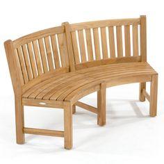 Buckingham Fire Pit Teak Bench Set | Westminster Teak Resin Patio Furniture, Teak Outdoor Furniture, Backyard Furniture, Bench Furniture, Modern Furniture, Curved Patio, Curved Bench, Curved Wood, Dining Set With Bench