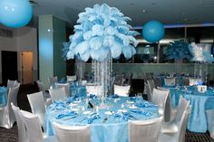 #feathers and fancy blue and white for a recent #batmitzvah at #gardencityhotel #poshultralounge