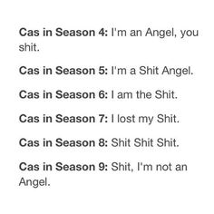 Supernatural - Cas through the seasons - Haha! Supernatural Destiel, Castiel, Supernatural Season 9, Supernatural Drawings, Super Natural, Geek Out, Superwholock, Losing Me, Winchester