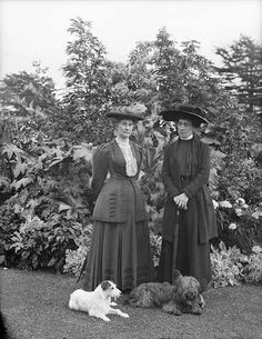 August 31, 1910    Countess Bessborough and Princess Marie Louise of Schleswig-Holstein (granddaughter of Queen Victoria), and two canine companions.