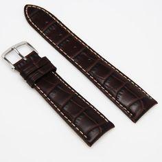 Hadley-Roma MS834 Genuine Calf Skin Brown Alligator Grain Watch Band 22MM Strap