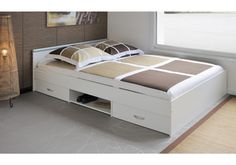 Crafted by a French design firm with Green Way accreditation, the Parisot Alpha 2 Drawer Full Storage Panel Bed suits modern spaces and modern ways. Bed Designs With Storage, Diy Storage Bed, Bunker Bed, Bedroom Storage For Small Rooms, Bunk Beds Built In, Bed Frame Design, Lit Simple, Bedroom Decor, Bedroom Sets