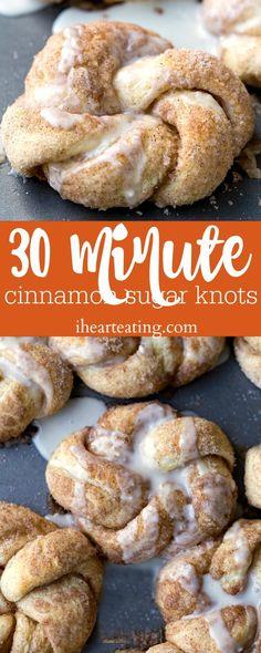 30 Minute Cinnamon Sugar Knots- make homemade knots that taste like cinnamon rolls in just half an hour!