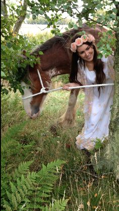 Fairy tale style forest, girl and horse photo shoot  Nature This is my wee sister with one of my friends horses  Love this picture hippy chic