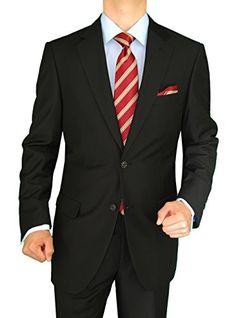 Gino Valentino 2 Piece Men's Side Vents Jacket Flat Front Pants 2 Button Black Suit (50 Long US / 60 Long EU)