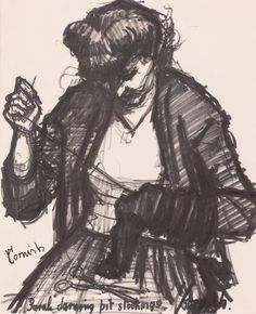 Sarah darning pit stockings, a drawing by Pitmen Painter Norman Cornish Art Gallery, Apple Art, Art Painting, Norman, Painter, Art, Industrial Art, Consciousness Art, Portrait Sketches