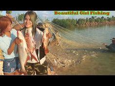 Beautifu Girl Fishing, Net Fishing, Cambodia Traditional Fishing, Beauti...