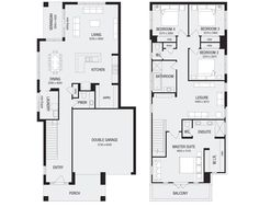 Browse our new range of Sydney home designs to suit your budget, land size and bedroom requirements. Explore our Sydney home designs available at Metricon. House Plans 2 Storey, Narrow House Plans, Modern House Floor Plans, Two Story House Plans, Luxury House Plans, New House Plans, American Houses, Duplex House Design, Container House Plans