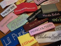 100 Beautiful, high quality Woven Damask clothing labels. These are not the inexpensive looking woven taffeta. 80 denier weight. Never worry