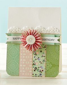 Rosette Birthday Card by Julie Overby  Pretty handmade rosette flower made by accordion folding border punched paper strip