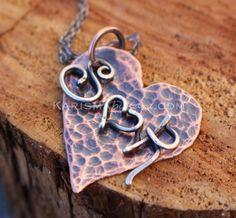 Sweetheart Necklace Wire Initials Heart by Karismabykarajewelry, $64.00