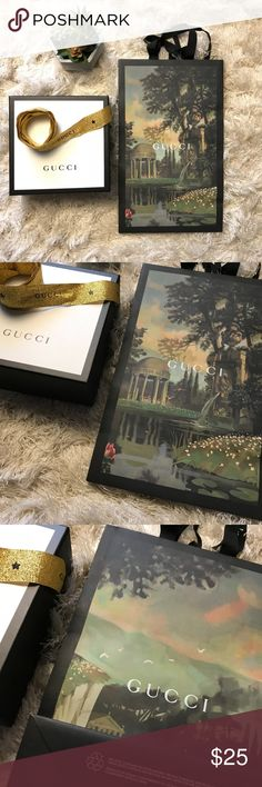 Gucci Box & Holiday Bag Medium Gift Decor Storage A nice clean set of box and bag from Gucci! Bag is tall, form Holiday 2017 and measures 9x15x5.5wide. Box is nice size for accessory or belt, measures 7.5x7.5x3, its holiday ribbon! They are clean, no damage or otherwise! Will pack safely and ship fast!  No Trades, No PP, please don't ask-Happy Shopping! Gucci Other