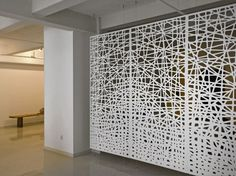 laser cut screen suspended with high tensile wire Aluminium Cladding, Cladding Panels, Laser Cut Screens, Laser Cut Panels, Partition Screen, Partition Design, Panel Divider, Space Dividers, Decorative Screens