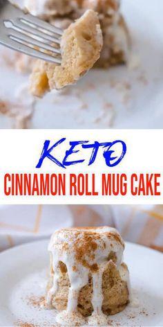 Keto Mug Cake! Easy low carb keto mug cake recipe. BEST cinnamon roll microwave keto mug cake. A few simple keto friendly ingredients to make this gluten free, sugar free mug cake. Keto Desserts, Quick Keto Dessert, Keto Snacks, Easy Desserts, Health Desserts, Low Carb Mug Cakes, Keto Mug Cake, Mug Recipes, Cake Recipes