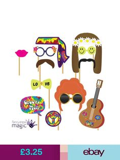 Party Supplies Pack Of 12 Hippy Hippie Picture Photo Booth Props Wedding Prom Party Set & Garden Party Activities, Activity Games, Party Games, Photo Booth Party Props, Magic Party, 70s Party, Love Flowers, Fancy Dress, Dresses For Sale