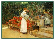 In The Garden After Breakfast by American Impressionist Painter Childe Hassam Counted Cross Stitch or Counted Needlepoint Pattern