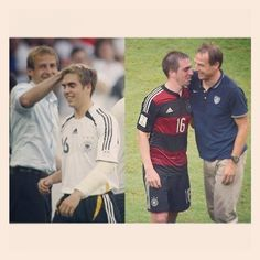 Philipp Lahm and Jurgen Klinsmann 8 years later - 2006 and 2014 World Cup