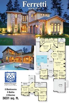 The Ferretti is a charming Tuscan style courtyard home plan. Tuscan House Plans, Modern House Floor Plans, Family House Plans, Country House Plans, Luxury Homes Dream Houses, Luxury House Plans, Dream House Plans, House Plans Mansion, Sims House Plans