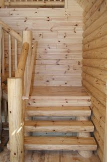 open staircase with wood treads and risers | Shaped log ...