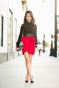 draped skirt, printed bag, amazing detail on the top... perfection