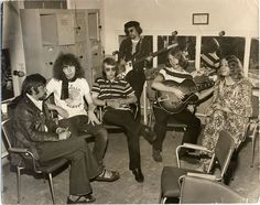 Fairport Convention 1969, backstage at Top Of The Pops. Dave Swarbrick, Richard Thompson, Dave Mattacks, Ashley Hutchings, Simon Nicol, Sandy Denny