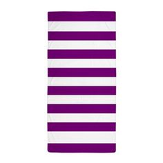 Bold Purple and White Stripes Beach Towel