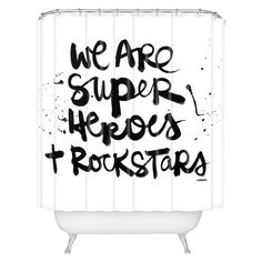 So cute, the boys bathroom might need this :) DENY Designs Superheroes Shower Curtain