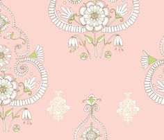 Floral Paisley Ice Cream Colours fabric by artthatmoves on Spoonflower - custom…