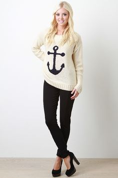 Sink into an awesome style with the Nautical by Nature Top. Featuring a round neckline, woven knit construction, full length sleeves, and center anchor detail. Accessories sold separately. 100% Acrylic.