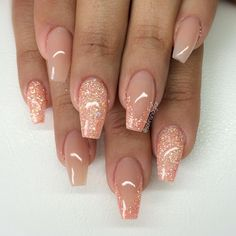 Blush + Peachy Glitter Coffin Nails. Varm camouflage med egenblandat glitter #nail #nailart  http://miascollection.com