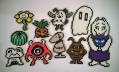 """"""" And here they are: every single monster you encounter in the RUINS with overworld spr. Pearl Beads Pattern, Hama Beads Patterns, Beading Patterns, Perler Bead Disney, Perler Bead Art, Pearler Beads, Fuse Beads, Beaded Cross Stitch, Cross Stitch Patterns"""