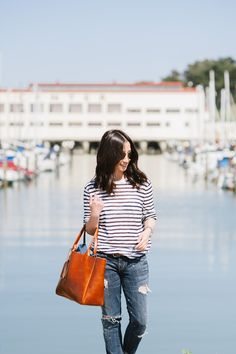 Stripes and boyfriend jeans