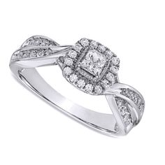 1/2 CT. T.W. Princess-Cut Diamond Frame Engagement Ring in 10K White Gold #affinityfashionjewelry #Engagement