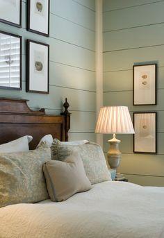 Soft Sage weatherboarded bedroom
