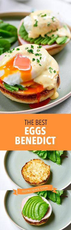 The best Eggs Benedict recipe, with ham, avocado and a poached egg blanketed with a silky smooth Hollandaise sauce. The perfect idea for a brunch party. #brunch #brunchtime #eggsbenedict #egg