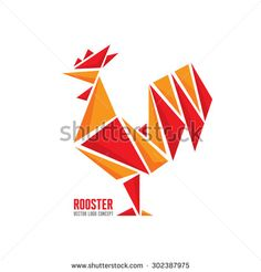 Rooster vector logo concept. Bird cock abstract geometric illustration. Cock logo. Vector logo template. Design element.
