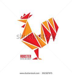 Rooster vector logo concept. Bird cock abstract geometric illustration. Cock logo. Vector logo template. Design element.