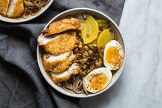 Bad days call for yummy dinners! Crispy Chicken Golden Beets and a Fried Ginger-Pepita-Shallot Mixture over Soba Noodles. Recipe in the comments! [OC] [6720  4480]