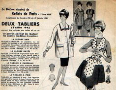 Tablier fantaisie, bavette décolletée en pointe retenue par des bretelles croisées dans le dos, jupe foncée incrustée d'une découpe formant des poches.  Blouse cardigan, co - 7608386