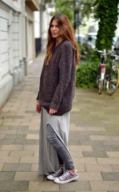 Grey HM dress over grey denim with oversized jumper and Converses - how AMAZING is that combination, Maja Wyh?