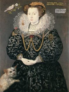 """1589 Elizabeth Brydges, maid of honor to Queen Elizabeth by Hieronimo Custodis (Woburn Abbey, Woburn UK) """"ELIZABETH BRYDGES (1574-October, 1617) Elizabeth Brydges was the daughter of Giles Brydges, 3rd baron Chandos (1547-February 21,1594) and Frances Clinton (1551-September 12,1623).Excerpt: She and Elizabeth Russell were turned out of the Coffer Chamber for going to watch the earl play at ballon without permission, later allowed to return to Court."""