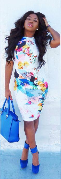 'Electric Blue' SMFashionology abstract dress #UNIQUE_WOMENS_FASHION