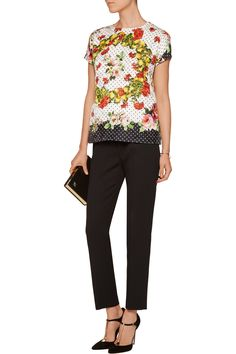 Dolce & GabbanaPrinted embroidered cotton-blend topfront