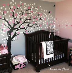 pink and gray nursery. love the tree