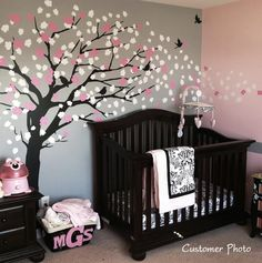 pink and gray nursery. love the tree