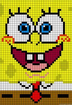SpongeBob perler bead pattern - turn it into granny square blanket!